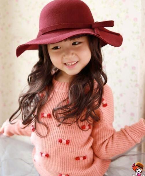 Cheap Baby Wool Felt Hat Girls Bowknot Big Brim Floopy Cap Kids Accessories Children Fedoras Casual Caps