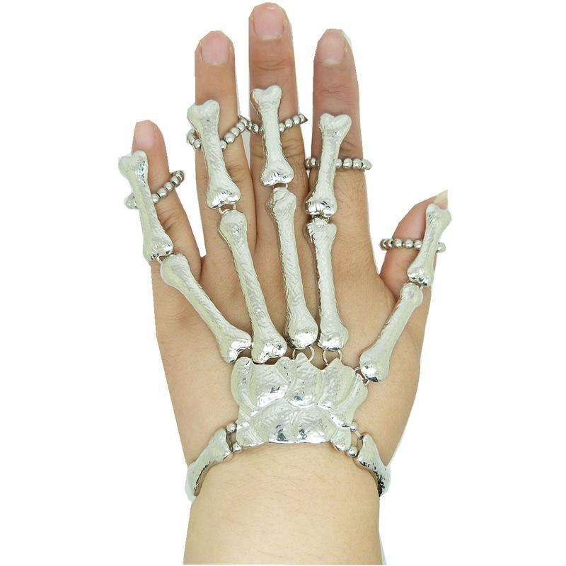 Novas Jóias Cuff Bangle Charme Pulseiras Mulheres Mão Cadeia De Prata Do Dedo Do Crânio De Metal Escravo Pulseiras Anel Imitação Ossos Pulseiras Aiptasia