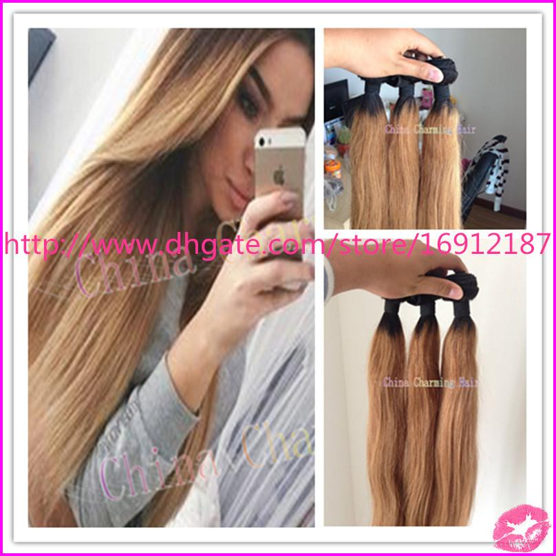 1b27 dark root ombre straight hair extensions weaves two tone 1b27 dark root ombre straight hair extensions weaves two tone ombre blonde brazilian hair weft bundles virgin brazilian ombre hair 3pcs pmusecretfo Image collections