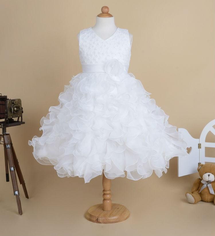 2015 Yüksek Kalite Çiçek Kız Çocuklar Için Elbiseler Prenses Kızlar Pageant Elbiseler Çocuklar Düğün Parti Kıyafeti