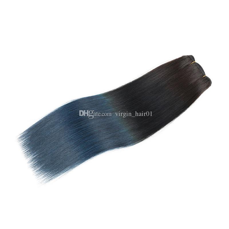 2017 Ombre Couleur 1B Bleu Droite Brésilienne Coloré Faisceaux de Cheveux Humains Extension de Cheveux Humains Deux Tone 1b Bleu Foncé Ombre Cheveux