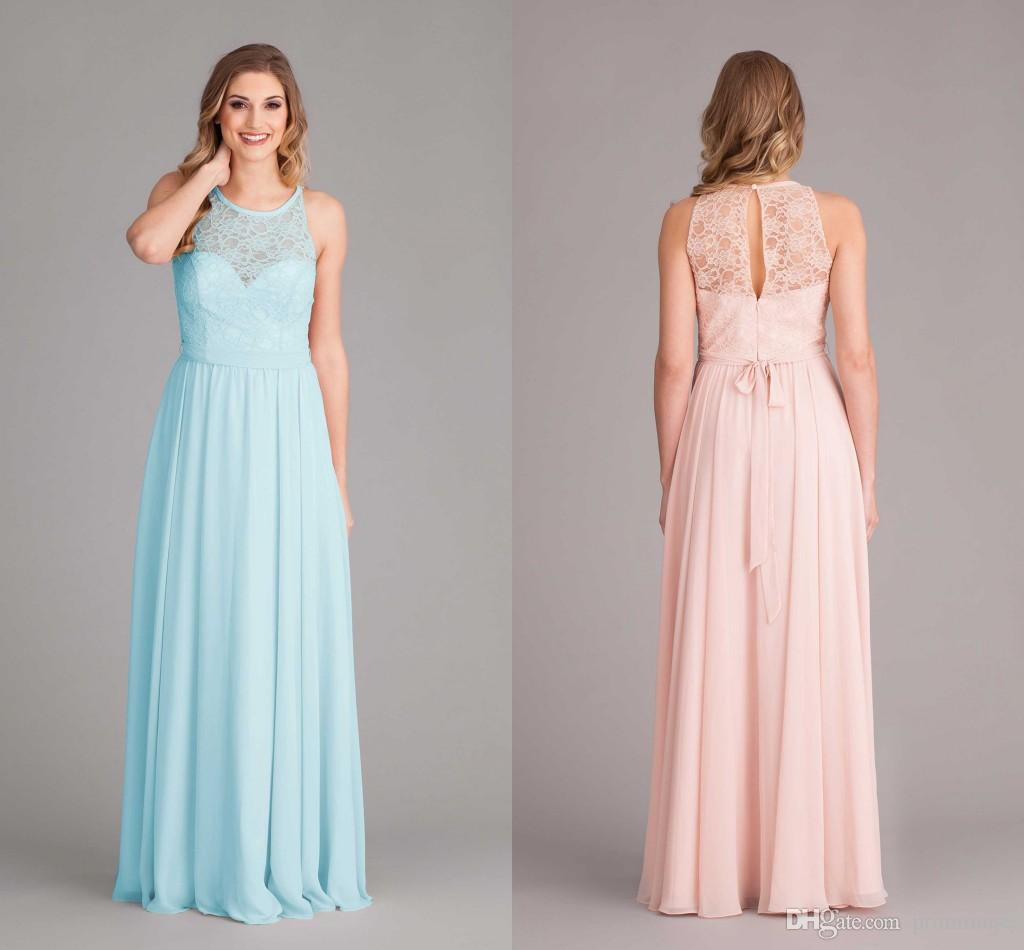 2017 Pink And Lace Junior Bridesmaid Dresses Cheap Chiffon Floor ...