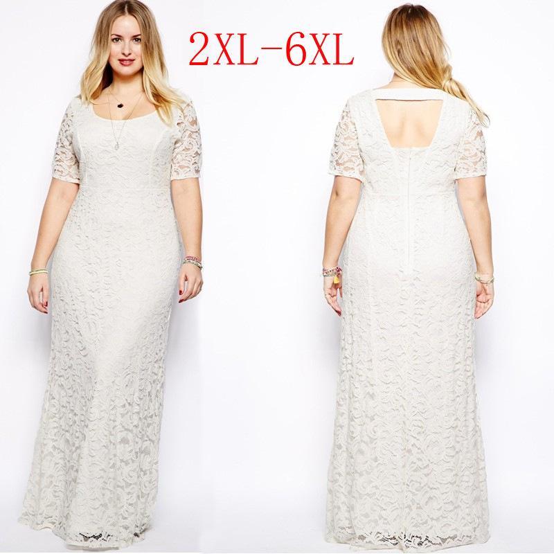 c3d1b68317 Compre Vestido Maxi Con Mangas Para Mujer De Talla Grande Para Mujer  Vestidos Vestido Largo De Encaje Blanco 2XL 3XL 4XL 5XL 6XL Mujeres Gordas  Ropa De Gran ...