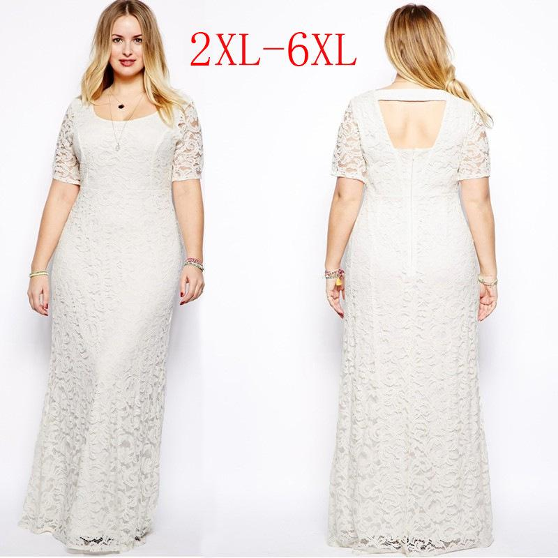 Womens Plus Size Maxi Dress with Sleeves Female Vestidos Long White Lace  Dress 2XL 3XL 4XL 5XL 6XL Fat Women Large Big Size Clothing