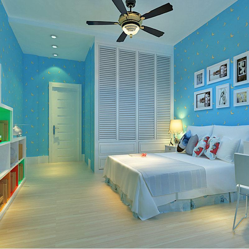 Modern Wall Paper For Children Room Blue Wallpaper Roll Kids Non - Blue wallpaper for girls bedroom