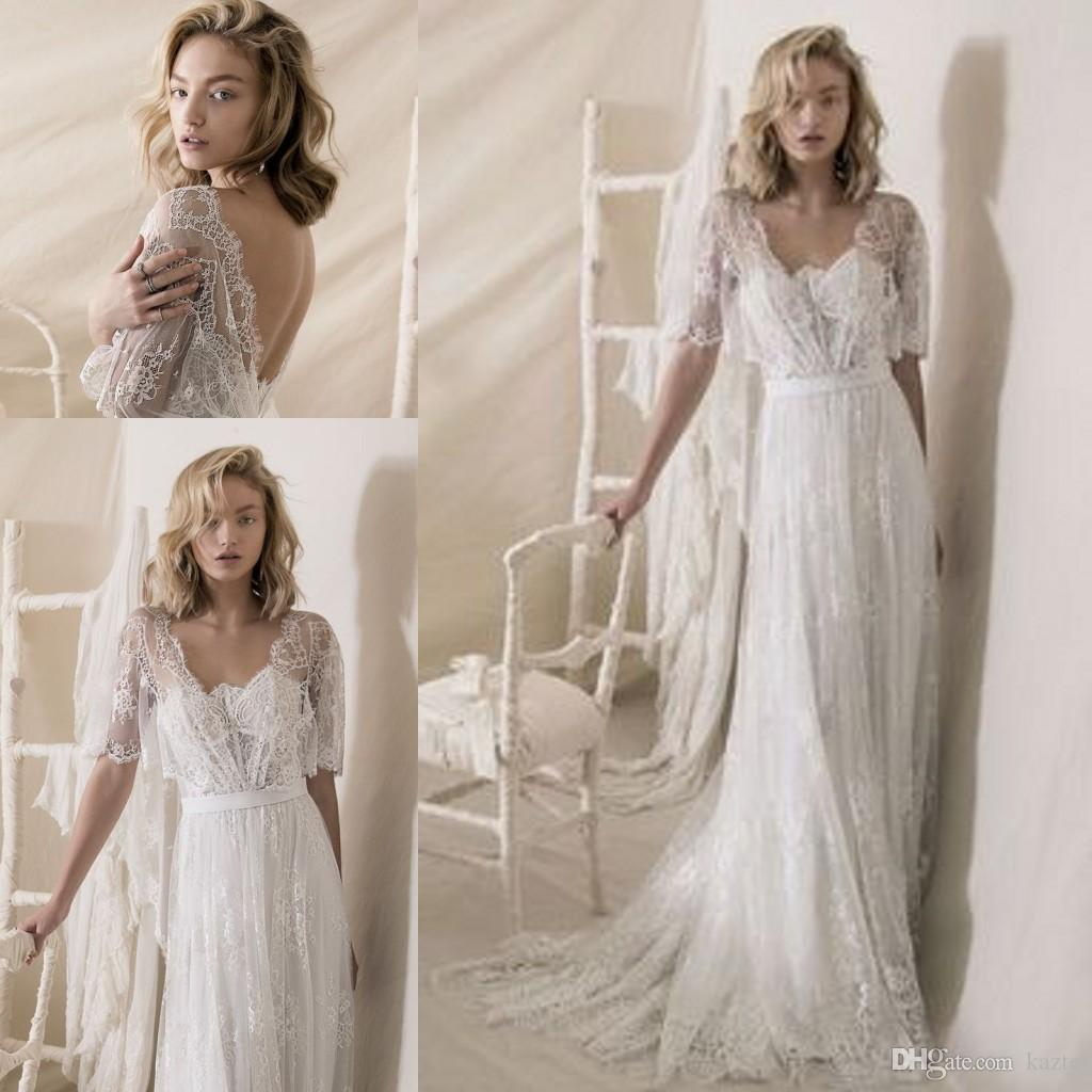 1efa1f6365 Discount Vintage 1950s  Lace Wedding Dresses 2018 Lihi Hod Lace Wrap  Elegant Sweep Train Bohemian Country Low Back Wedding Gowns Off The  Shoulder A Line ...
