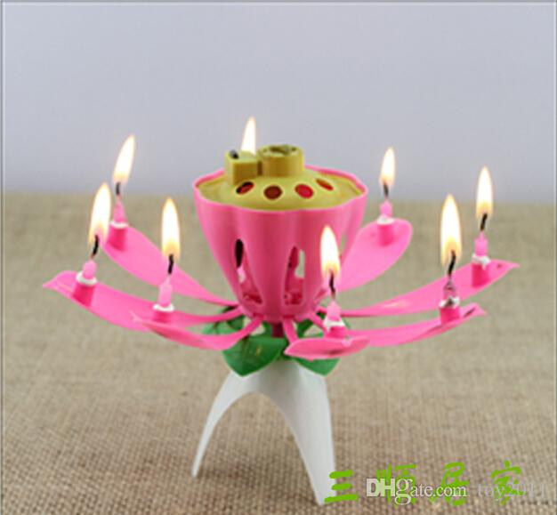 Romantic Blossom Lotus Flower Candle Birthday Party Cake Musical Candle Music Sparkle Waterproof Candle flame The best birthday present