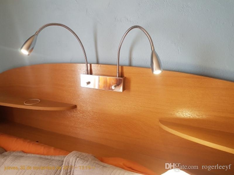 Topoch Applique murale 2x3W à LEDs avec interrupteur double bouton ON / OFF / Gradateur Deux lampes flexibles fonctionnant indépendamment Classy Fini chrome