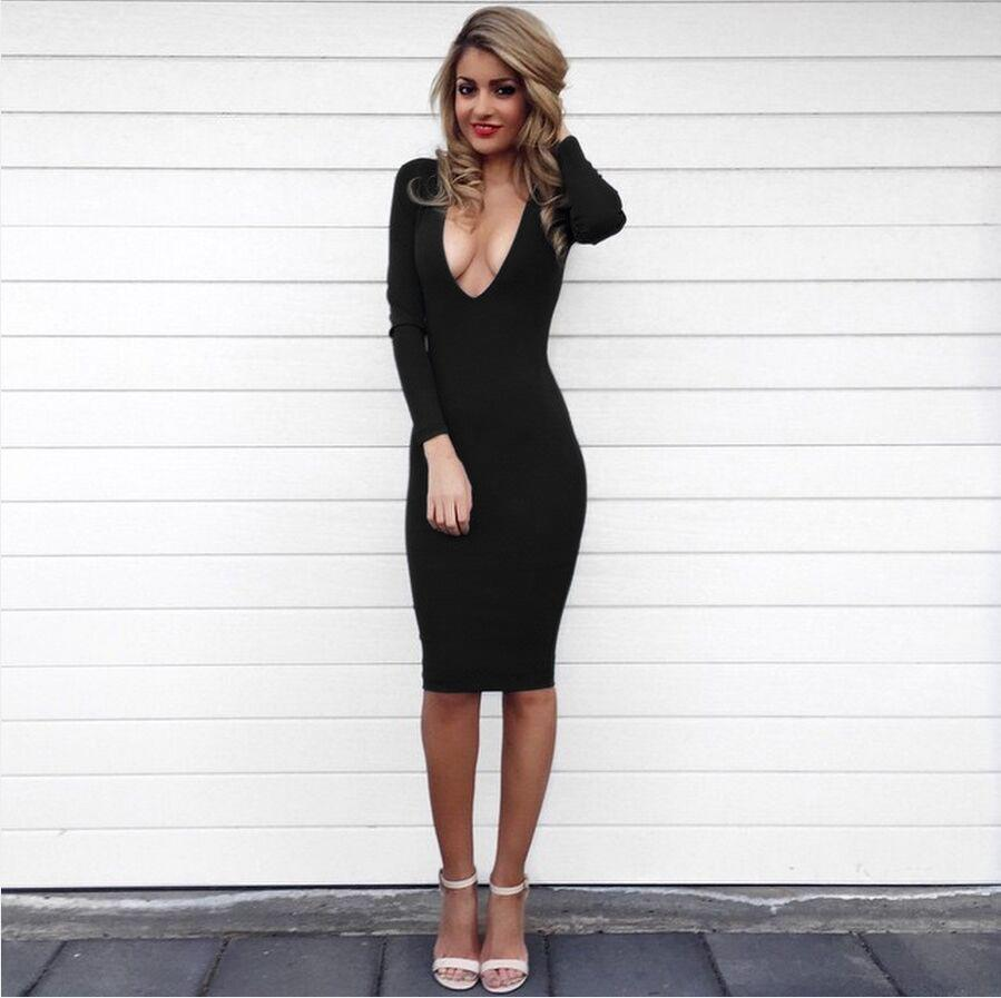 Discount Women Winter Dresses 2016 Long Sleeve Deep V Neck Party ...