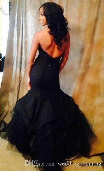 Sexy Black Sweetheart Bodice Mermaid Prom Dresses Zipper Low Back Satin Tulle Ruffles Evening Gowns Floor Length Formal Party Dresses