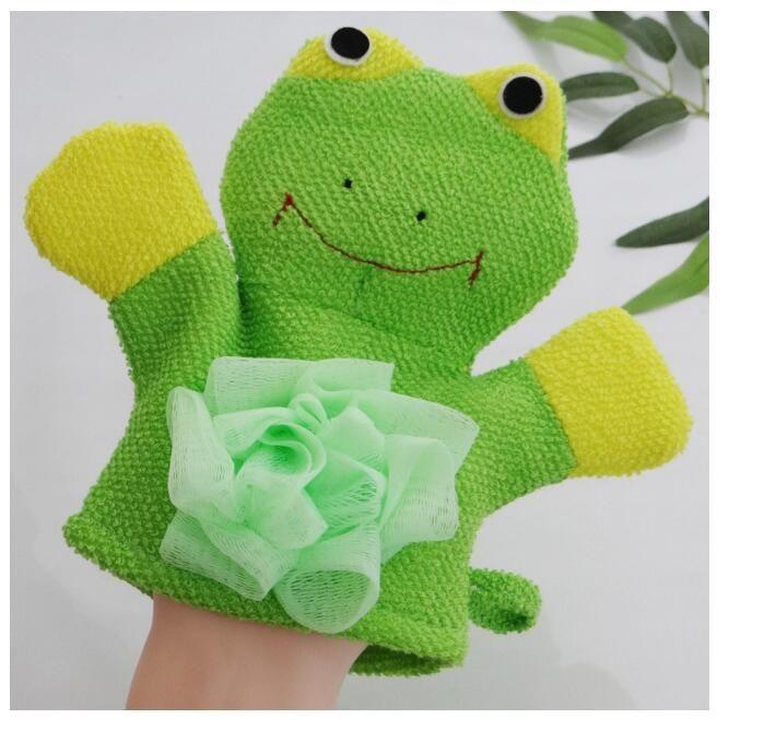 Cute Lovely Cartoon Animals Kids Bath Mitten Buddy Duck Frog Rabbit Fun Children Washing Bath Gloves Baby Bath Rub Towel