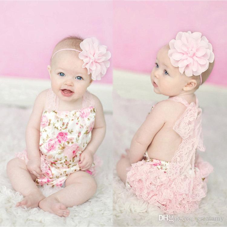 97b871249ac5 Summer Babies Rompers Newborn Baby Clothes Hanging Neck Baby Girl s Lace  Romper Kids Infant Toddler One-piece Jumpers Babies Rompers Short Sleeve  Babay ...