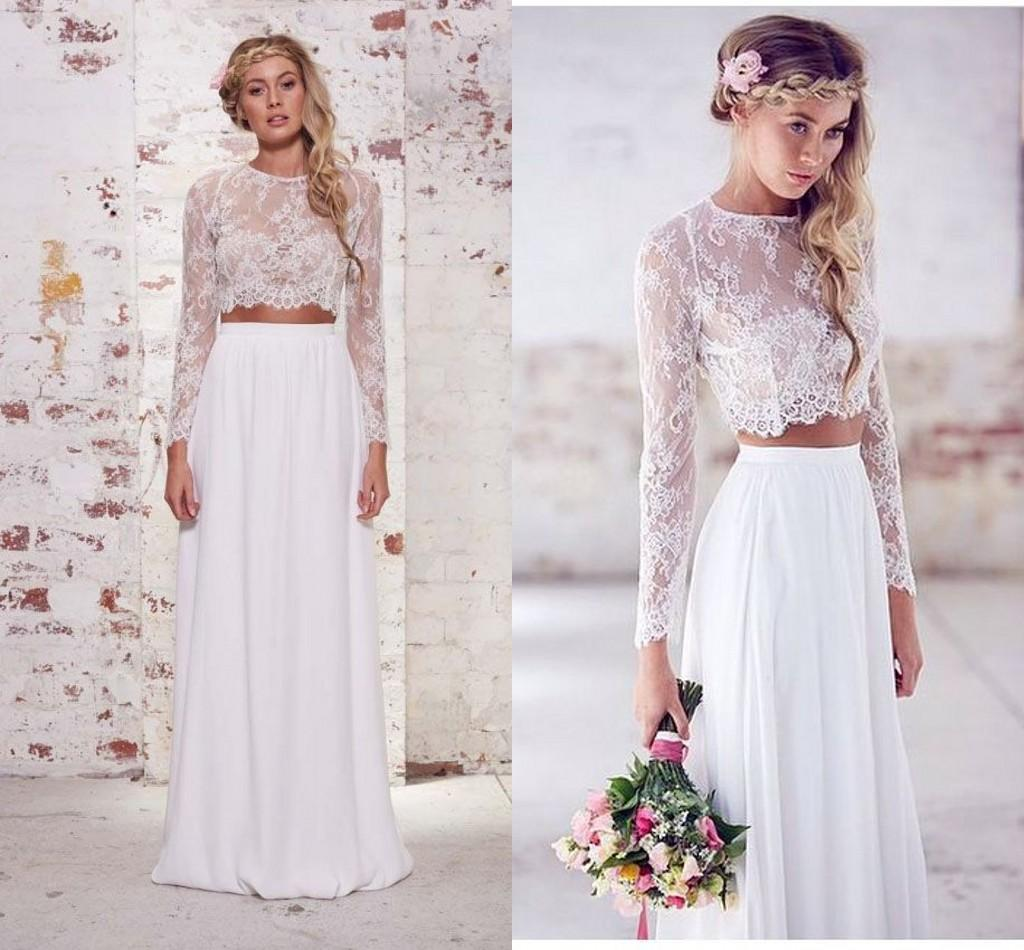Discount 2018 Hot Sale Two Pieces Crop Top Bohemian Wedding ...