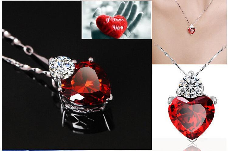 Moda Pingente de Colar 925 Cadeia de Prata Esterlina Encantos Zircão Coração amor Mulheres Pingente de jóias de pêndulo Banhado A Prata Vestido acessórios
