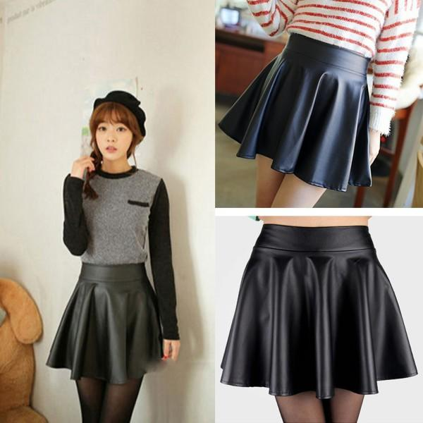 Online Cheap Newlady Girls Faux Leather Skirt High Waist Skater ...