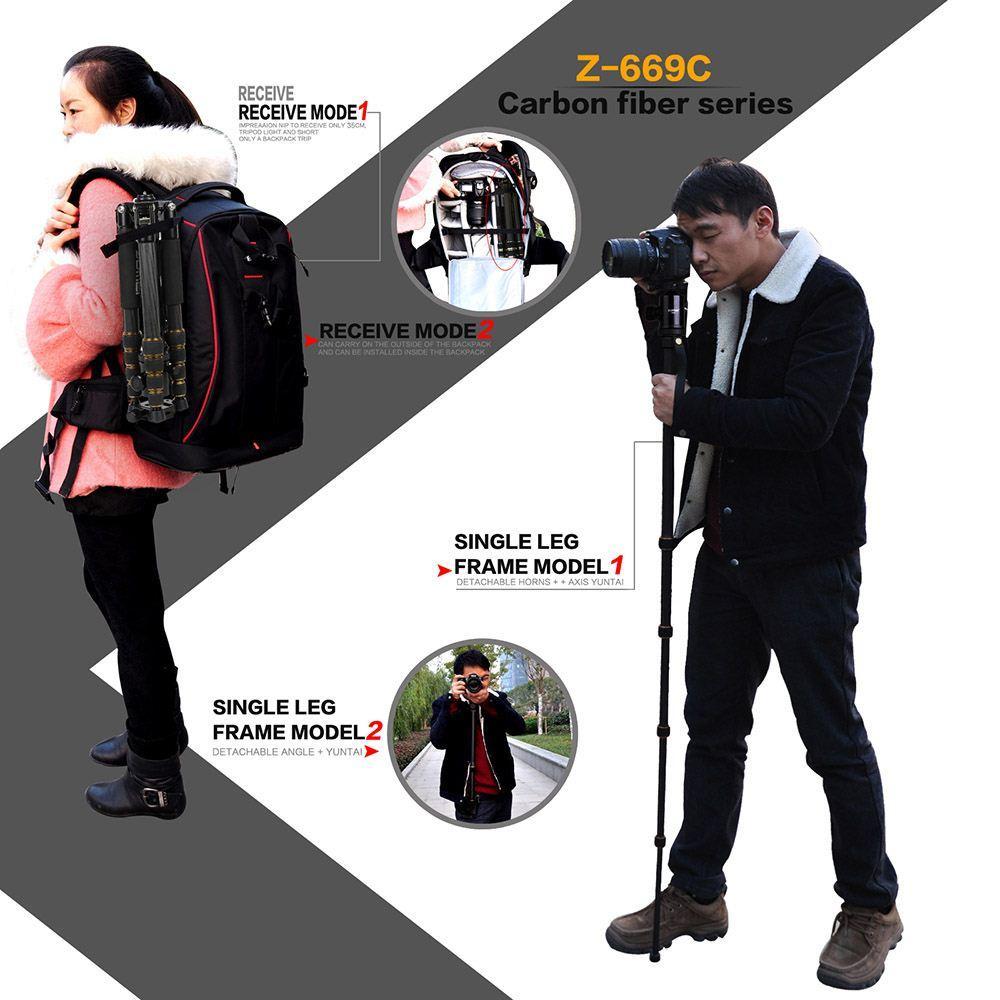 ZOMEI Z-669C Pro Stativ Einbeinstativ Kohlefaser tragbar abnehmbar austauschbar reisende Kugelkopfstative für Spiegelreflexkameras Camcorder Bestell-Nr