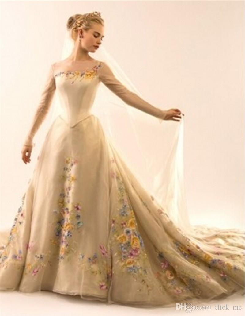 정장 이브닝 드레스 2015 Sheer Neck Appliques 채플 트레인 긴 소매 무도회 드레스 지퍼 백 신데렐라 공 가운 Tulle bridal Gowns