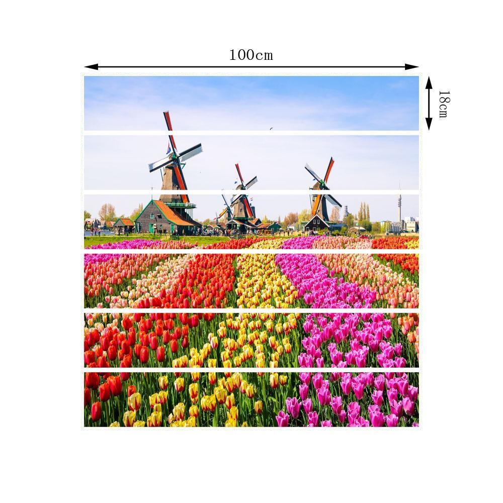 18cm x 100cm Windmill Flowers Stairs Decoration 3D Sticker Art Pegatinas De Pared Home Decor Mural LT028