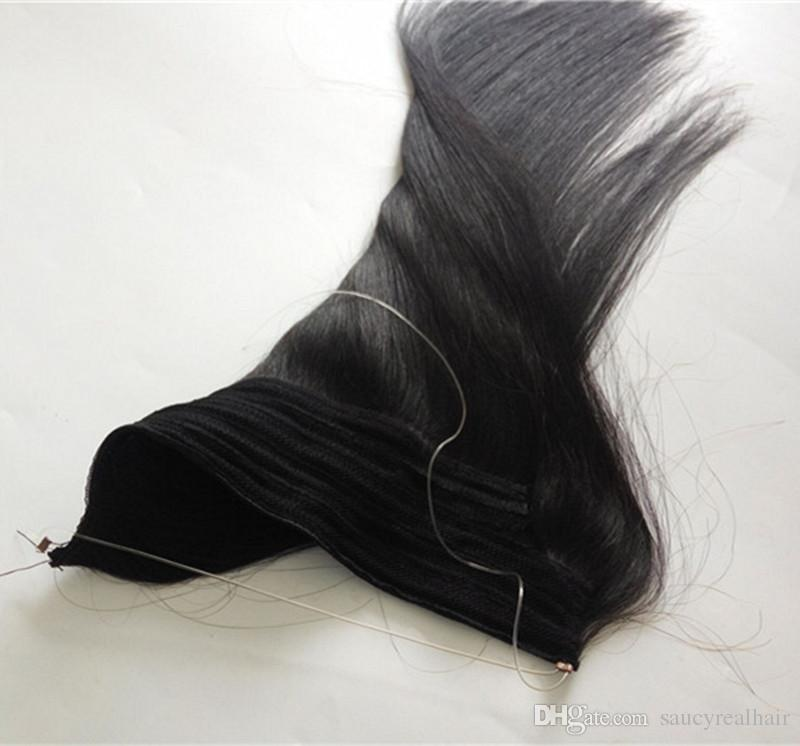 Brésilien Straight Flip En noir Extensions de couleur Cheveux 12 - 28 pouces Ensemble 120g 140g 160g Halo Extensions de cheveux humains Lady