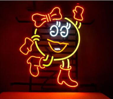 cartoon girl neon sign beer neon bulb logo sign film display giant ms pacman handcrafted custom. Black Bedroom Furniture Sets. Home Design Ideas