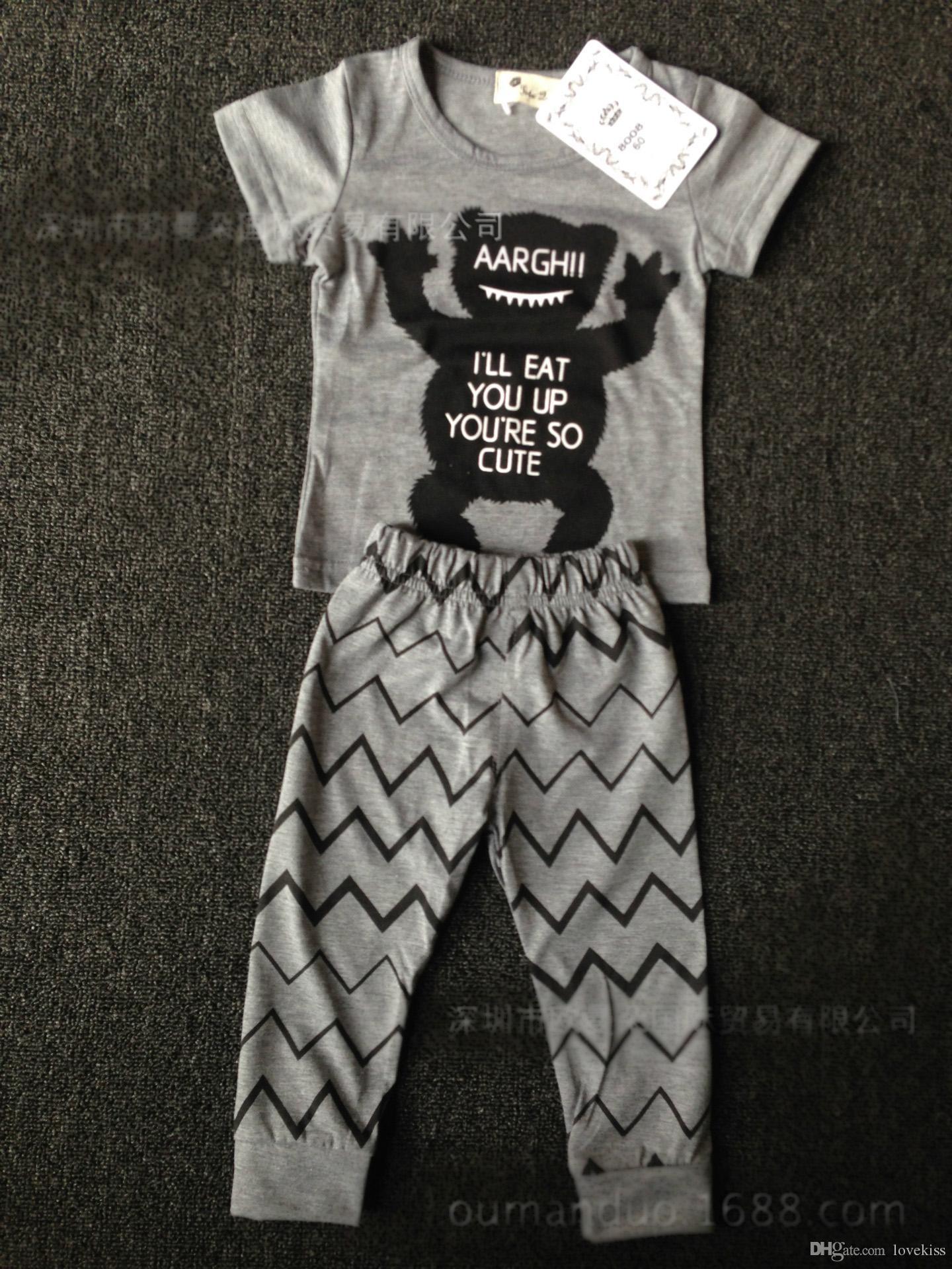 2018 Sommerart-Säuglingskleidungsbabykleidung stellt Baumwollkleine Monsterkurzschlusshülse Klagebaby-Kindkleidung LH16 ein