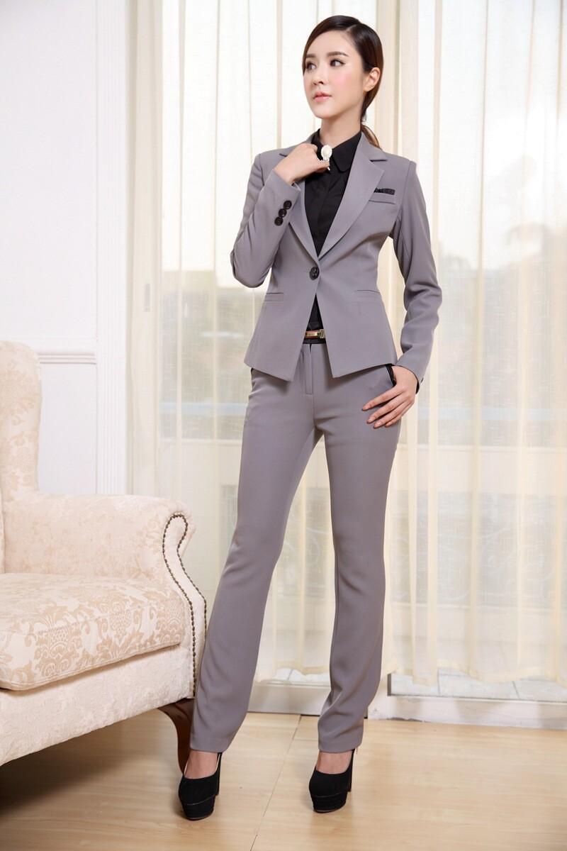 Compre Trajes De Las Mujeres Blazer Con Pantalones Nueva Moda 2015 Formal  Office Ladies Uniform Designs Traje De Pantalón De Mujer Para El Trabajo A   53.06 ... 5b5d8c0da95e