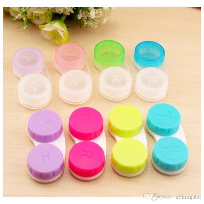 البلاستيك العدسات اللاصقة مربع المحمولة الصغيرة جميل لون الحلوى نظارات حقيبة حاوية العدسات اللاصقة حالة 100 قطعة / الوحدة مجانية