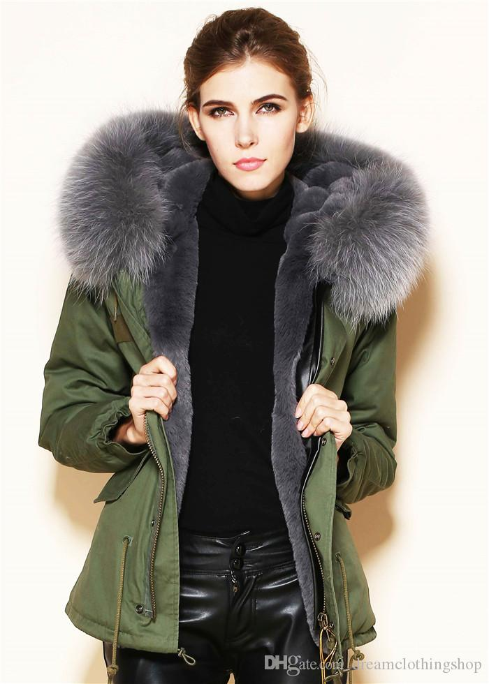 Fashion Korea Movie Star Lady Parka Jackets Faux Fur Lining Real ...
