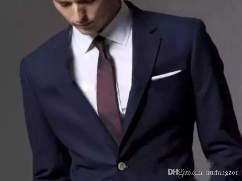 Nach Maß Dark Navy Männer Anzug 2018 Mode Bräutigam Anzug Hochzeit Anzüge Für Männer Slim Fit Bräutigam Smoking Für Mann Jacke + Pants