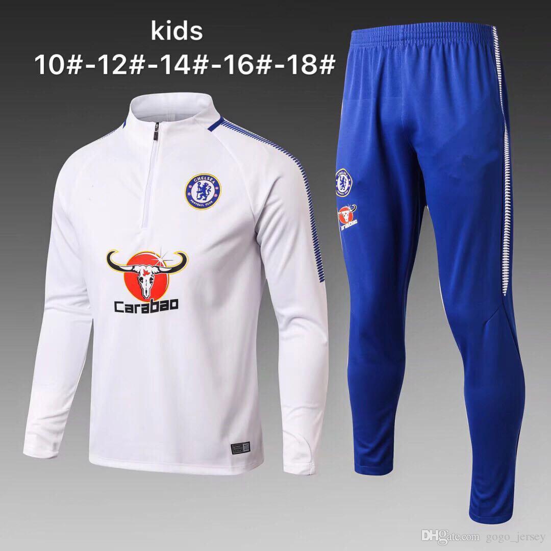 Populaire 2017 2018 Chelsea Kids Football Jacket Tracksuit 17 18 De Foot  WW59