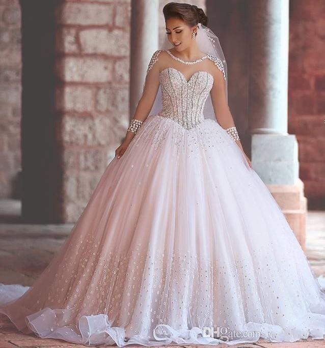 Robe de bal organza robes de mariée en organza perlé arabe Dubaï robe de mariée à manches longues Illusion Robes de mariée en couches de jardin