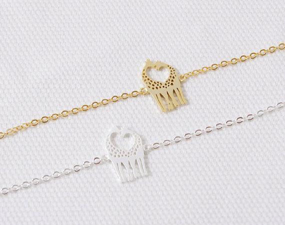 30 шт.-B023 золото серебро симпатичные сердце любящий жирафы браслеты простой прекрасный Твин жираф олень браслет животных ювелирные изделия для пар
