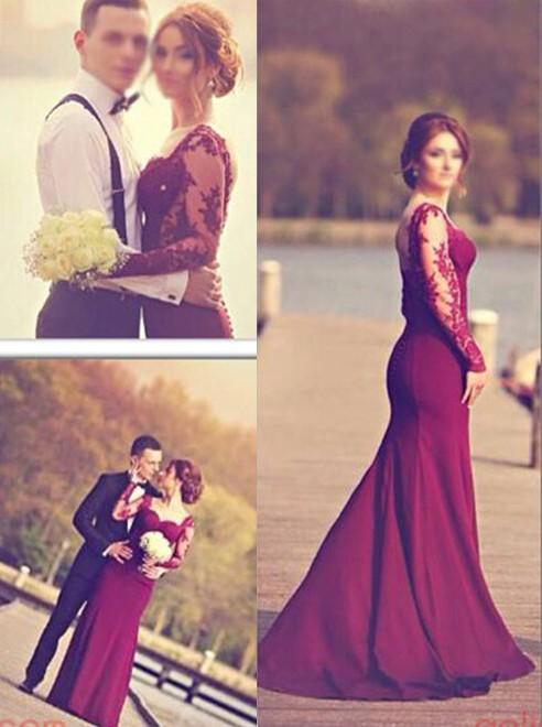 2016 New Evening Dresses Sexy Mermaid Lace Long Sleeves Sweetheart Illusion Grape Open Back Wedding Bridesmaid Party Prom Gowns