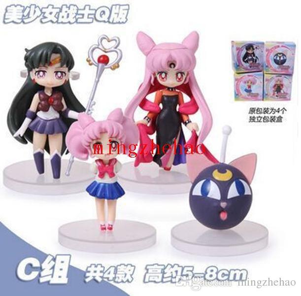 새로운 판매 / set Anime Sailor Moon Figures 츠키노 우사기 선원 화성 수성 목성 금성 토성 피규어 PVC 인형 상자 포함