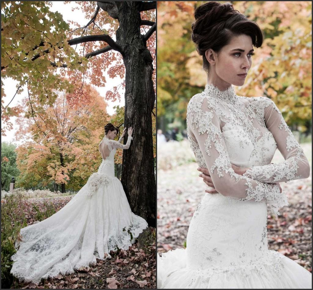 high collar wedding dresses with long sleeve illusion lace 2015