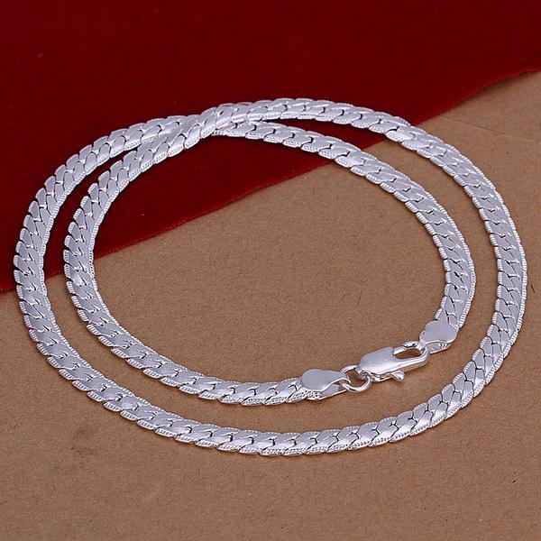cadenas de plata de ley 925 collares de los hombres 5mm 18 pulgadas N130 envío libre del regalo de Navidad