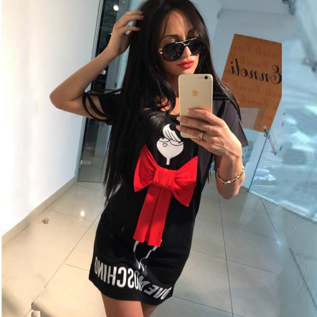 93d1784409 2016 Summer Cartoon Letter Character Print Red Bow Dress Casual O ...