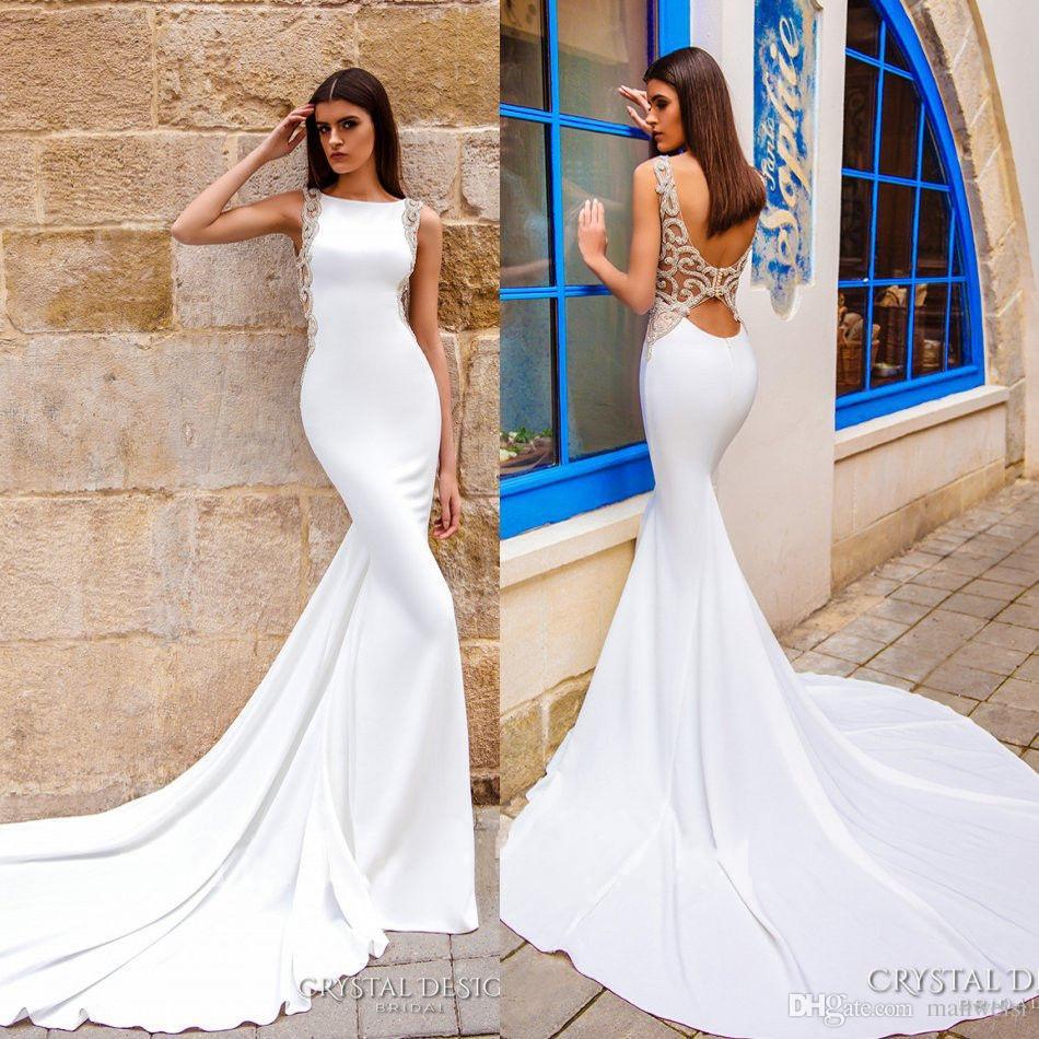 6d39f5dbc0 Compre Elegantes Vestidos De Novia De Sirena Espalda Abierta 2018 Trompeta  De Cristal Vestidos De Novia De Raso Vestidos De Novia Con Cuentas A   134.13 Del ...
