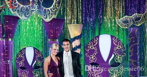 Laser rain curtain party wedding Backdrop decoration 9.5cm X 100cm metallic shimmer tassel room birthday festive christmas decor supplies