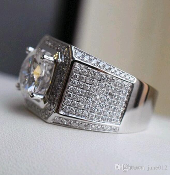 Großhandel Ringe mit seitlichen Steinen für Männer Micro Pave Hübsche Jungen Weiße Kupfer Hochzeit Engagement Finger Ring US Größe 8-13