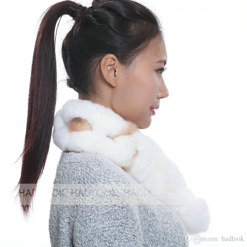 Fur Scarf Rabbit Fur Scarves Autumn And Winter RealWomen Knitted Scarves Lady Natural Rabbit Scarf party Luxury sexy