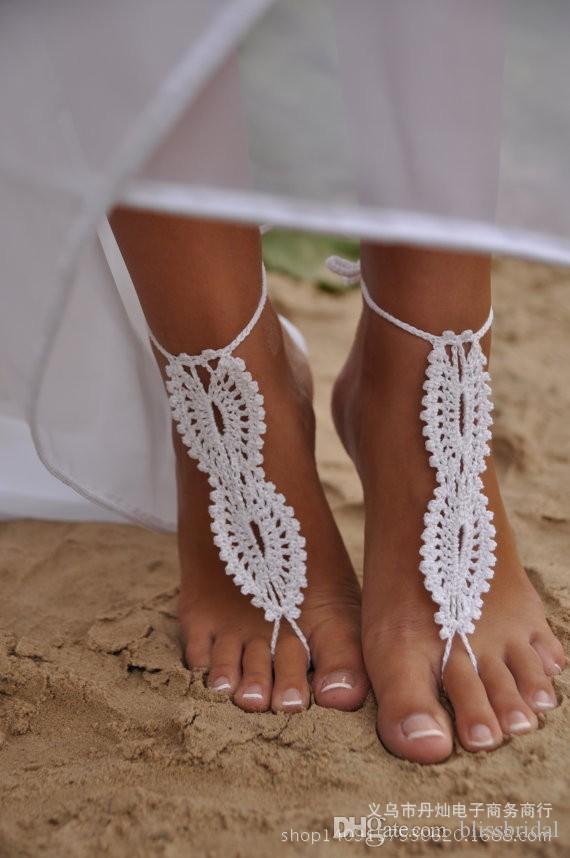 Mariage sur la plage blanc mariage au crochet sandales aux pieds nus chaussures nues creuses pied dentelle cheville pas cher livraison gratuite