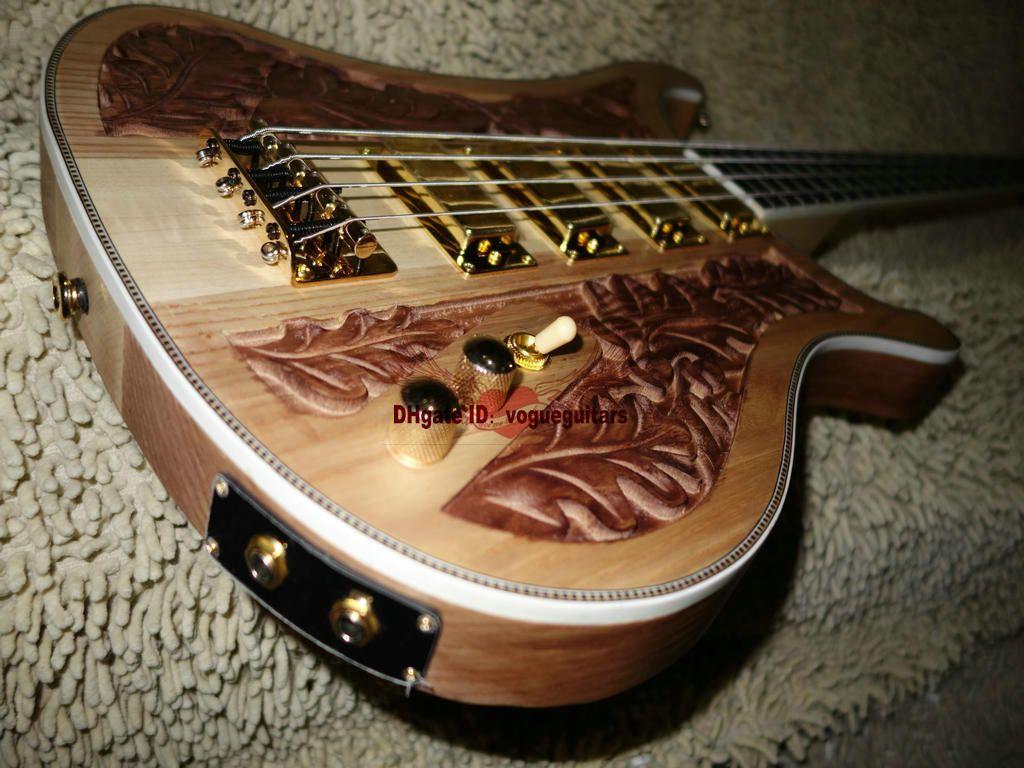 Custom 4003 Bass 4 현베이스 기타 나무 조각 수동 일렉트릭베이스 컬러 Golden picks 중국산 무료 배송