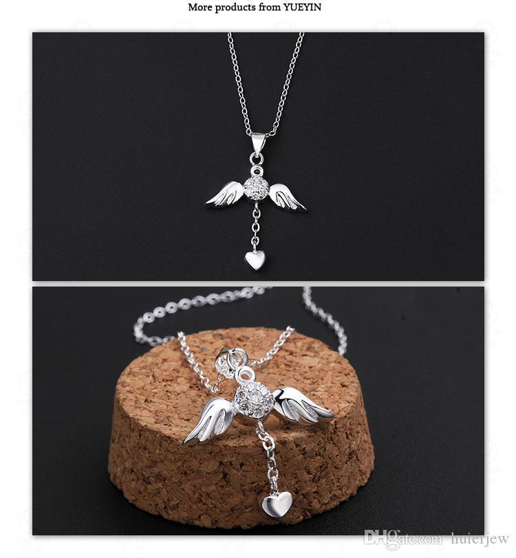القلائد مصمم تشيكوسلوفاكيا الماس الجملة الأزياء والمجوهرات 925 الفضة الاسترليني سلسلة كسعماس هدية فتاة أجنحة الملاك القلب الحب المعلقات القلائد
