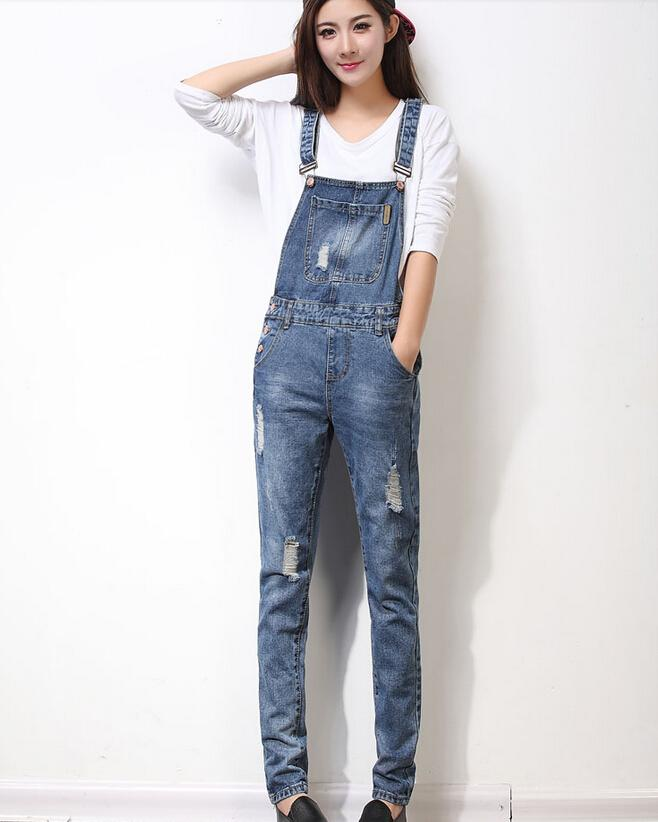 Free Shipping 2016 New Fashion long Jeans With Holes Women High Quality Overalls Jumpsuit And Rompers Denim Pocket Trousers S-XL Hot Sale