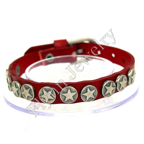 The Star Button Accessories Watch band Design Adjustable Leather Charm Bracelet Bangle Punk Rock Decorations Amulet Jewelry