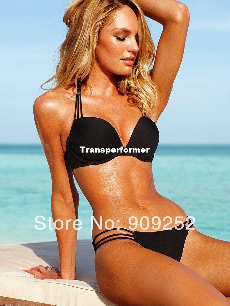 52a325eda2 Sexy Women Bikini Plunge Push-Up Top Twist Bandeau Swimwear Girl ...