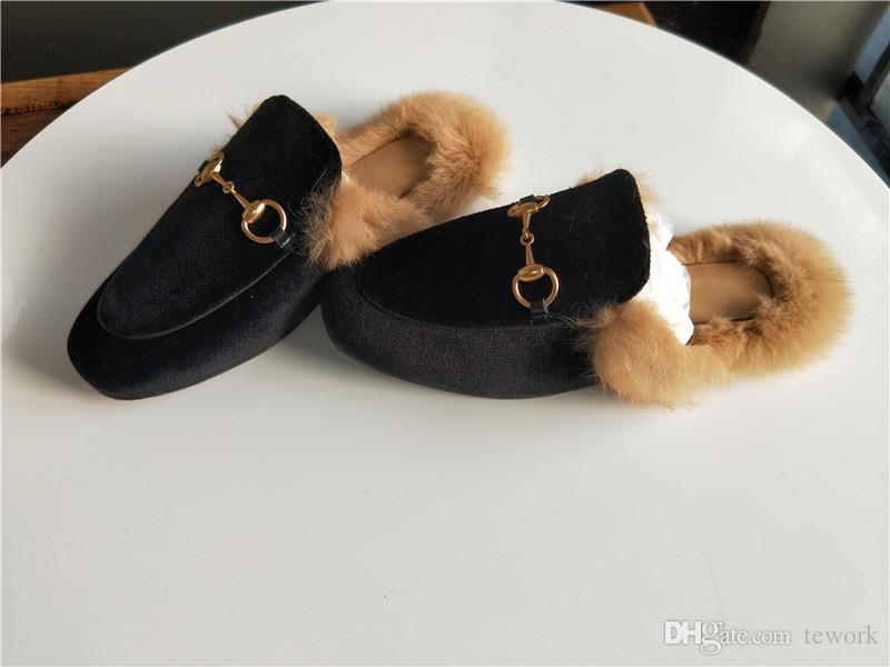 Caída y invierno de las señoras de cuero de lujo de piel de mulas zapatillas ante de las señoras los zapatos planos de mulas amor zapatos de moda zapatillas al aire libre