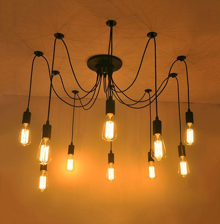 Discount Edison Light Bulb Tiannvsanhua Creative Personality Living Room Modern Minimalist Long Spider Tea Shop Chandelier Screw In Pendant Lights