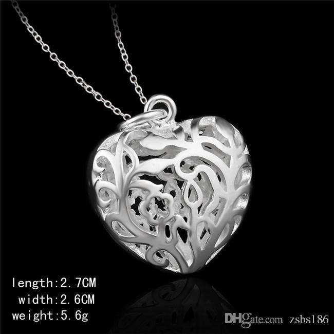 Fabrika fiyat 925 Ayar gümüş hollow kalp kolye kolye moda takı sevgililer Günü hediye kızlar için ücretsiz kargo